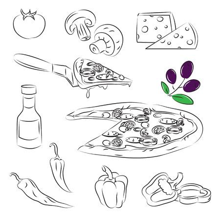 pizza ingredients: Pizza Set