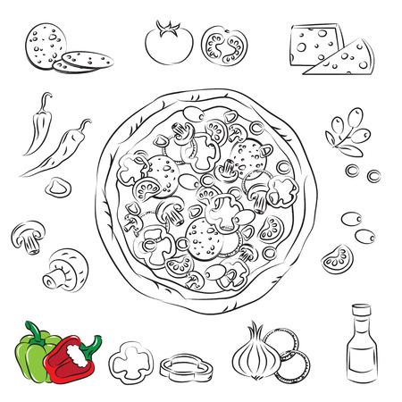 restaurante italiano: Vector Sketch colecci�n de Pizza y ingrediente