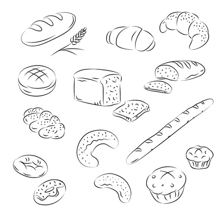 croissants: Sketch Collection of bakery  Illustration