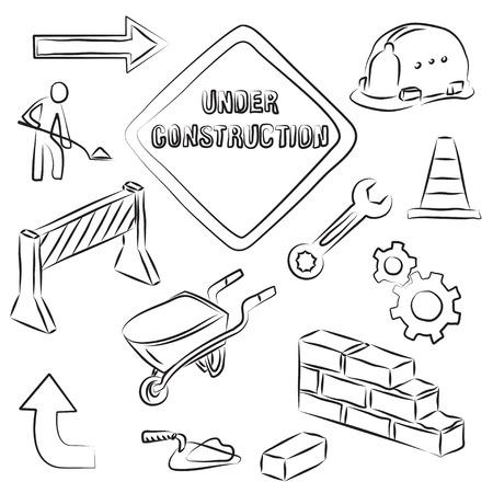 demolishing: Constructions Signs and Tools Clip-art Set  Illustration