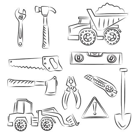 Constructions Signs and Tools Clip-art Set  Vector