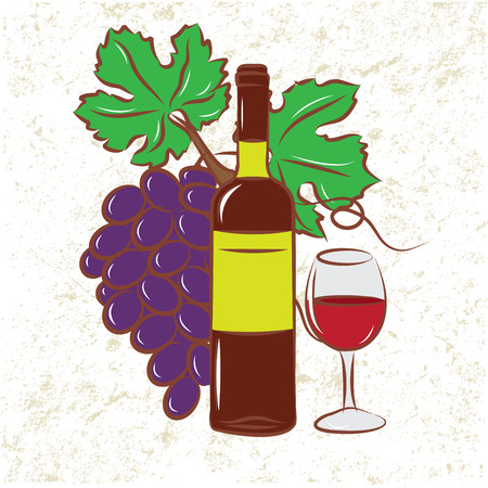 Wine Bottle and Grapes Stock Vector - 9081429