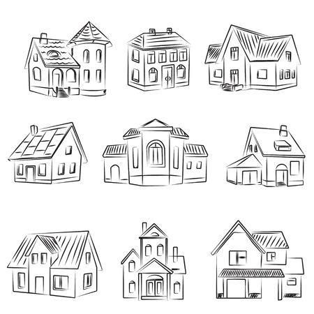 silhouette maison: Ensemble de maisons  Illustration