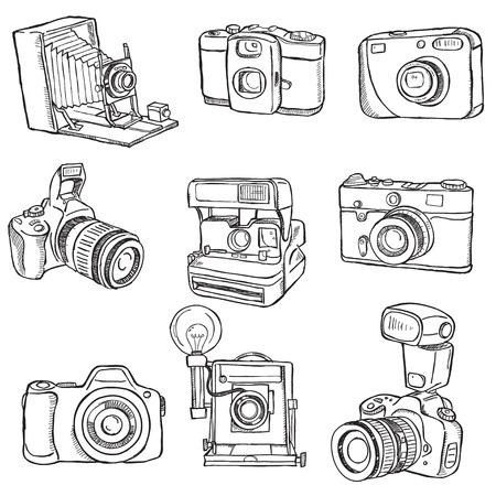 camera flash: Set of Photo cameras
