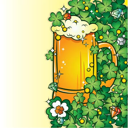 colrful: Beer Mug on the Clover background