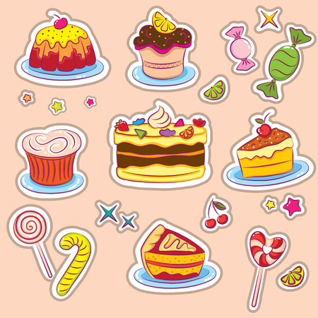 Süßigkeiten und Kuchen Aufkleber  Vektorgrafik