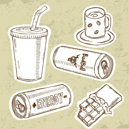 cola canette: Ensemble des boissons �nerg�tiques  Illustration