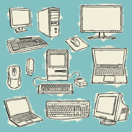 computer cable: Set of computers  Illustration