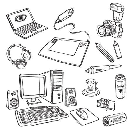 sketch: Grafisch ontwerper werkplek Stock Illustratie