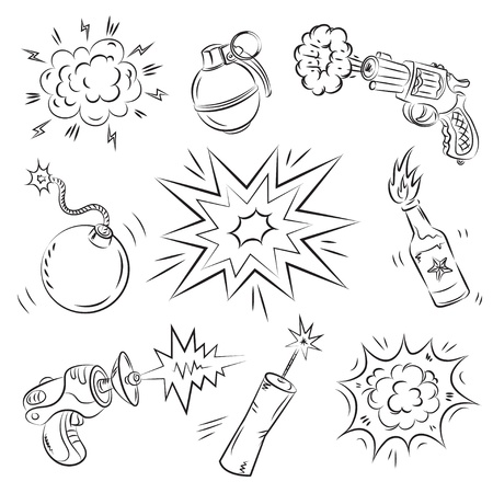Set of Explosives and Weapon  Stock Vector - 9314850