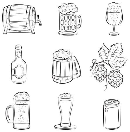 gold cans: Set di birra  Vettoriali