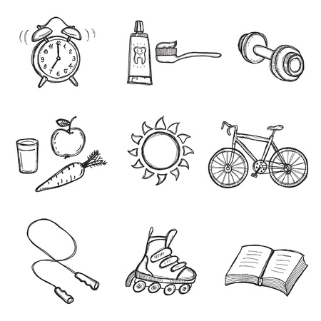 Set of Healthy Lifestyle Elements  Stock Vector - 9314857