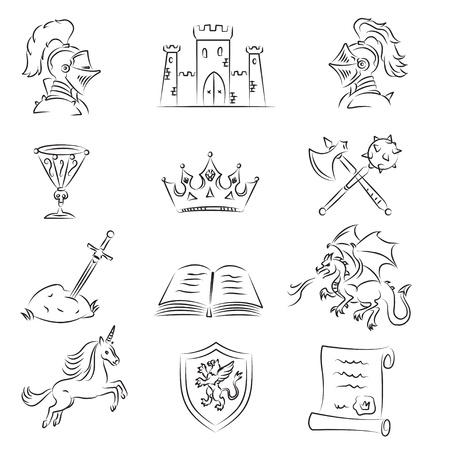 castello medievale: Sketch medioevali Set di icone