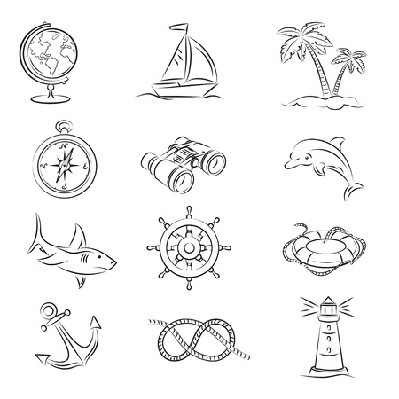 Sea Travel Set  Vector