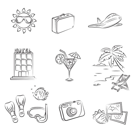 Sea Vacation Set  Vector