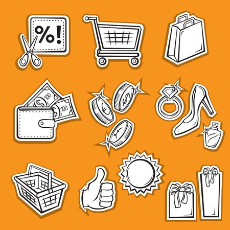 Set of Shopping Icons  Illustration