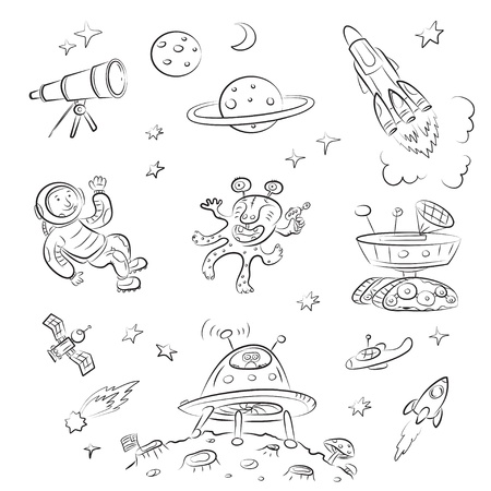 astronaut in space: Space Set  Illustration