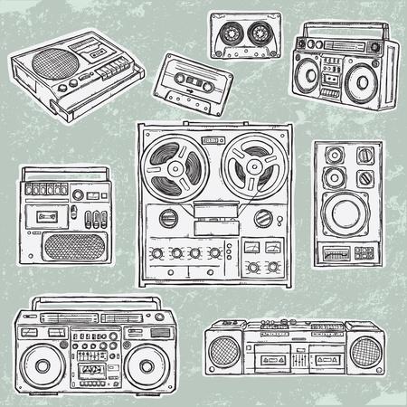 Attrezzature musicali retr�. Una raccolta di vettore elegante immagini di vecchi registratori a nastro.  Vettoriali