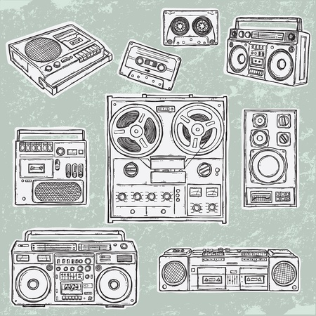 Retro musical equipment. A collection of stylish vector images of old tape recorders.  Illustration