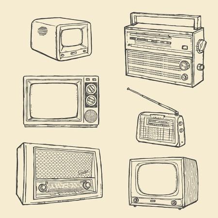 radio button: Retr� TV e Radio Set  Vettoriali
