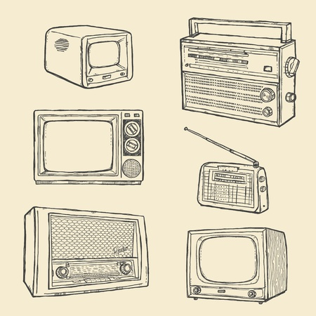 Retro TV and Radio Set