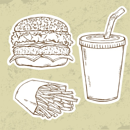 sandwiches: Hamburger, Fries and Drink