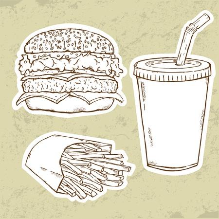 Hamburger, patatine fritte e bibita  Vettoriali