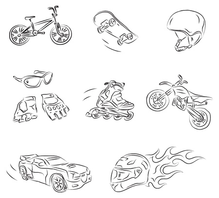 car tuning: Extreme Sports Vector Sketch  Illustration