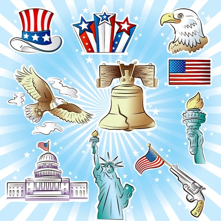 Set of vector images on Independence Day theme Illustration