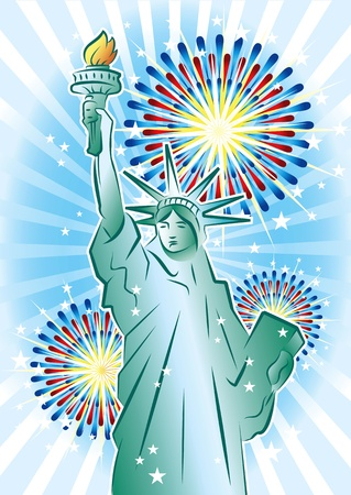 Statue of Liberty and fireworks  Stock Vector - 9872475