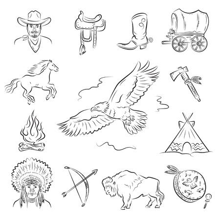 colonisation: Set di icone occidentale. Una raccolta di immagini vettoriali elegante sul tema del selvaggio West