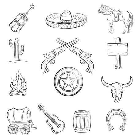 Conjunto del salvaje oeste. Una colección de imágenes vectoriales con estilo sobre el tema del salvaje oeste