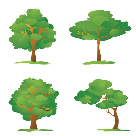 simple life: Set of Cartoon Trees  Illustration