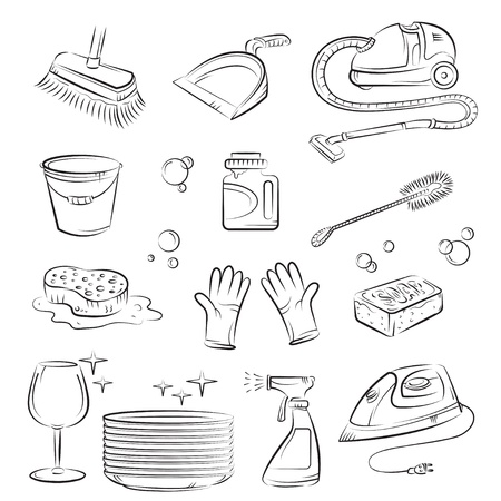 dweilen: Huis schoonmaken spullen  Stock Illustratie