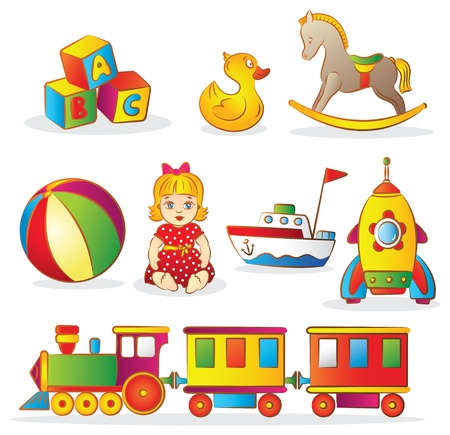 Set of colorful childrens toys  Illustration