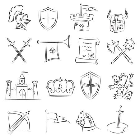 Conjunto de esbozo medieval  Ilustración de vector