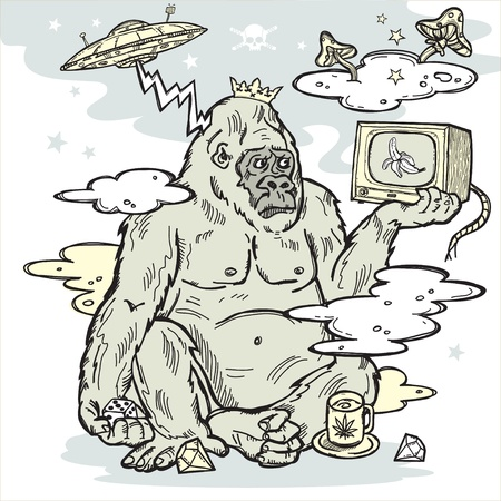 home entertainment: Gorilla in the mist with TV in hand  Illustration