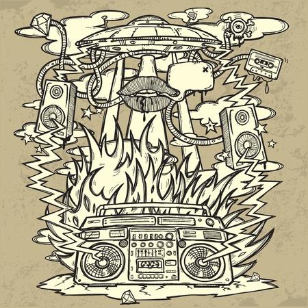 boite a musique: Musique de fond. Grunge chic sur le th�me de la musique. L'image se compose d'un OVNI, une bo�te de perche, les flammes, incendie, explosion, haut-parleurs. Toutes les pi�ces sont sur des calques s�par�s, facilement modifiable