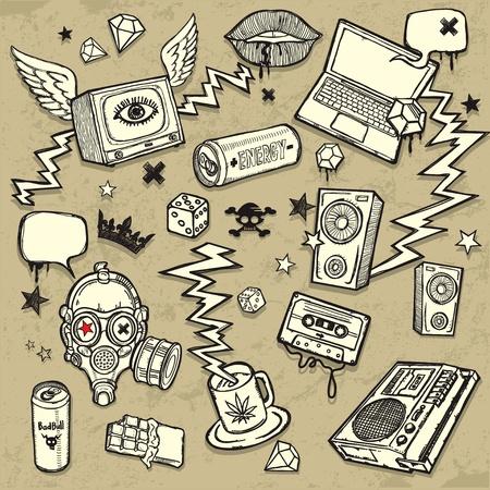 mascara gas: Fondo mixto. Colección de elementos de diseño de estilo grunge. Todas las piezas están en capas separadas, fácilmente editables