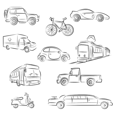 fire truck: City Transport Sketch Set