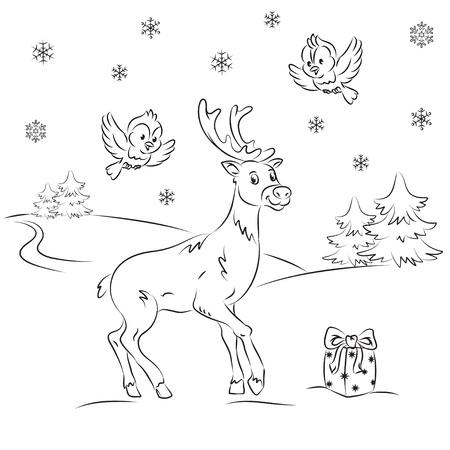 Reindeer in the winter forest  Vector