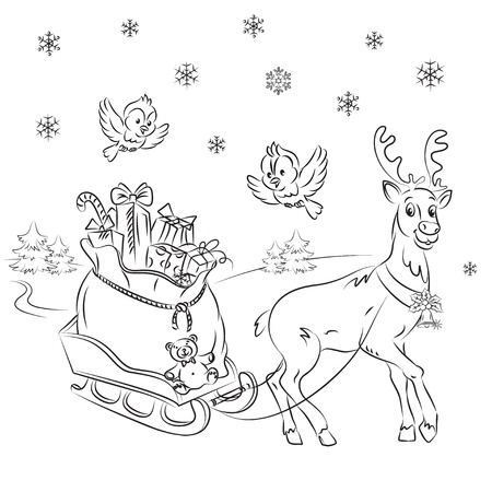 Reindeer with gifts  Vector