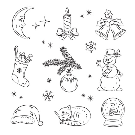 Christmas Night Set  Vector