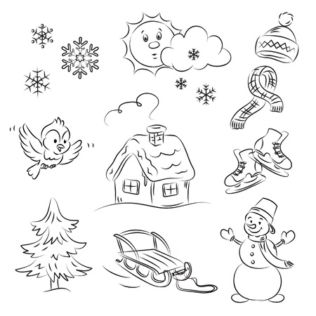snow covered: Winter Set Illustration