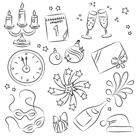 New Year sketch Set  Vector