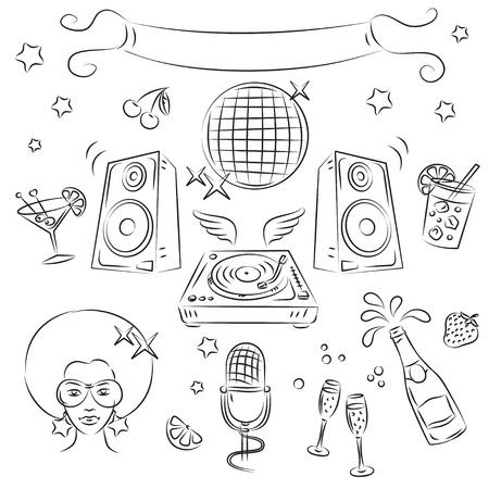 cocktail mixer: Vector Sketch Clipart Set Disco Party Illustration