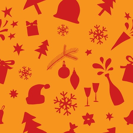 Seamless pattern of Christmas and New Year elements  Vector