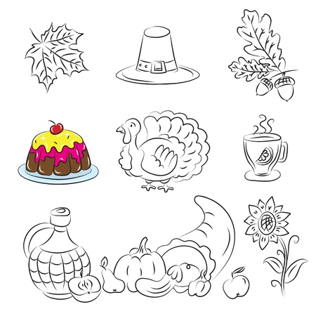 Thanksgiving Sketch Set  Vector