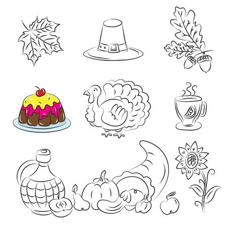 Thanksgiving Sketch Set  Vector