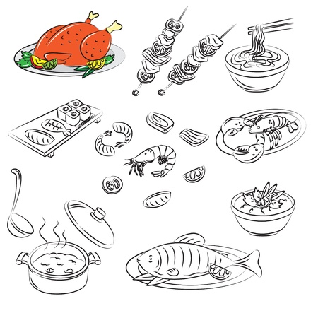 soup and salad: Vector Sketch Collection of meat food